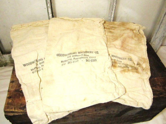 3 Antique Cotton Advertising Sacks for Repurposing or Projects of Display