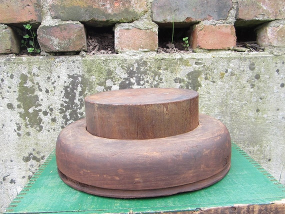 Antique Wood Hat Mold Mullinery Primitive Hat Block and Flange  Top Hat