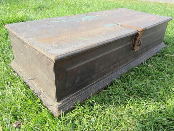 Antique Wood Chest OOAK Wooden Lock Box Home Made Scrap Material Depression Era Old