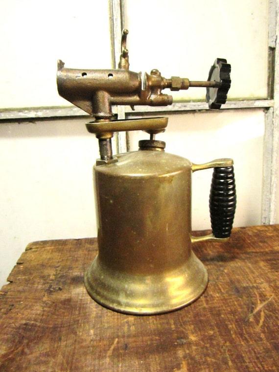 Antique Industrial Gas Blow Torch Industrial Steam Punk Decor Brass Old