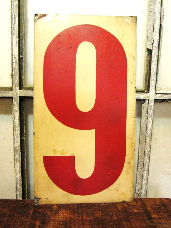 Antique Metal Number 9 or 6 Cream White and Red Gas Station Price Sign Large Old and Shabby