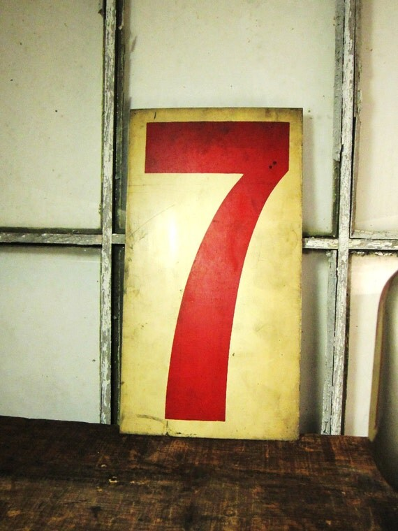 Antique Metal Number 7 Cream White and Red Gas Station Price Sign Large Old and Shabby