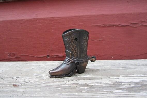 Vintage Antique Cowboy Boot and Spurs Miniature Metal Pencil Sharpener Miniature Figural