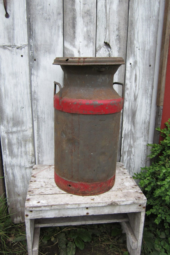 Antique Metal Can Industrial Steel Can Painted Red Farm Fresh Rustic Decor