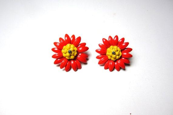 Vintage Earrings Floral Enamel Painted Red Yellow Flower Retro Metal Ear Ring