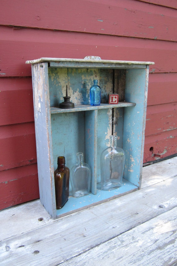 Antique Wooden Shelf Country Chippy Blue Divided Drawer Painted Blue Wood Shelf