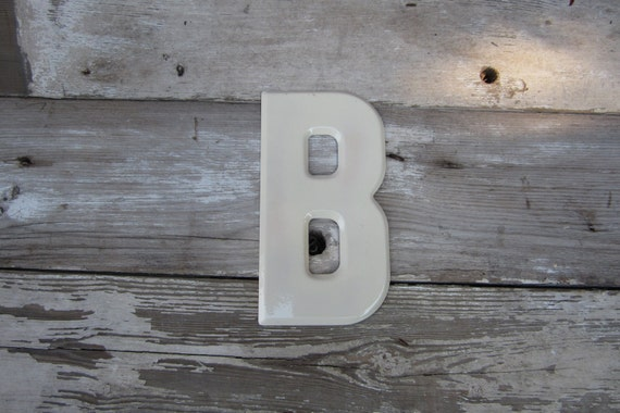 Vintage Metal Chippy Letter B Sign Painted Sign Antique Marquee Rusted Metal WHITE