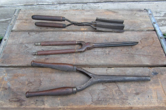 3 Vintage Old Time Curling Irons 1930s Metal and Wood Hair Crimpers Retro