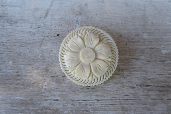 Vintage Brooch Pin Carved Bone Floral Pin Floral Jewelry