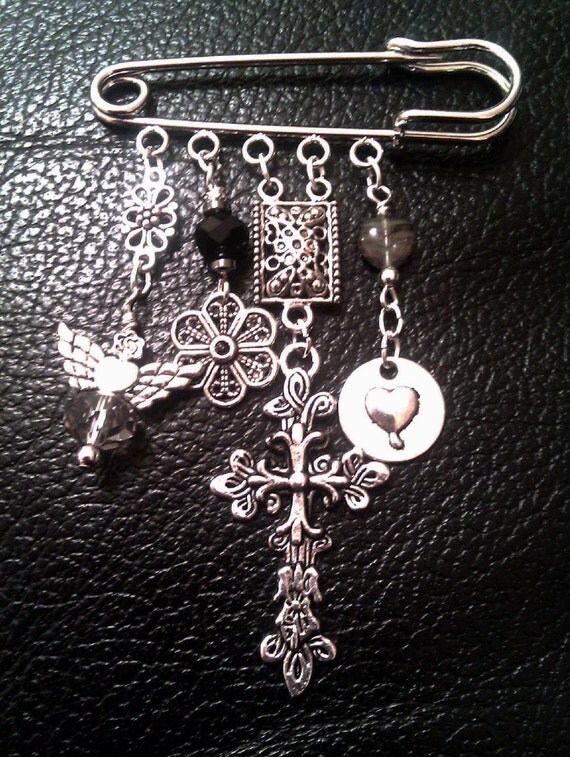 Silver Gothic Kilt Pin with Crystal Angel, Gothic Cross Rock Gothic OOAK