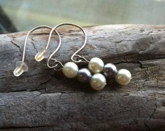 Gray Beaded Dangle Earrings