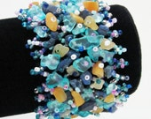SUMMER Fun  Blue Multi Color Stones Beaded Cuff Women's Bracelet, FREE SHIPPING