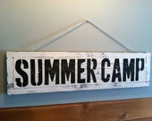 Wonderful large sized SUMMER CAMP Wood Sign