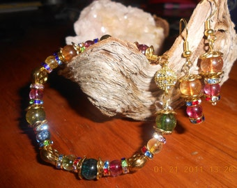 Watermellon Tourmaline and Swarovski crystal spacers with earrings