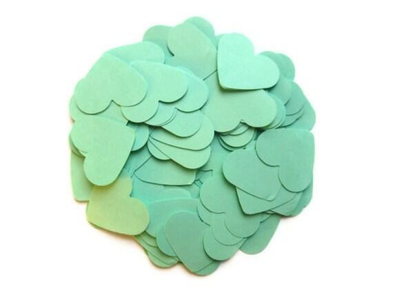 100 x Mint Paper Heart ConfettiDie Cuts/Embellishments