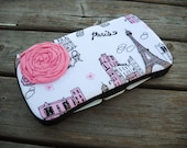 A Night In PARIS with Light Pink Rosette Boutique Travel Baby Wipe Case...Glitter on Eiffel Towers