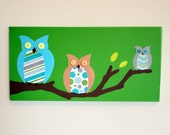 Owl painting nursery picture. Owls on canvas in modern green (not a print) for kids room & playroom. Personalized custom