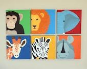 Safari nursery paintings on canvas. Modern nursery art nursery artwork. Zoo jungle animal art for kids (not prints)