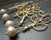 Wedding Jewelry, Four Necklace Set, Single Fresh Water Pearl on a Gold Leaf 14K Gold Filled Necklace