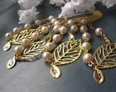 Bridesmaids Gift Set of four Bracelets, Bridesmaid Bracelet, Swarovski Pearls, Gold Leaf, Personalized initial letter,