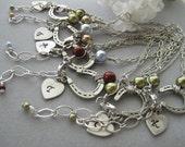 Six Bracelets, Good Luck, Antique silver Horseshoe Charm Bracelet, Silver Double Chain, Personalized, Heart charm,