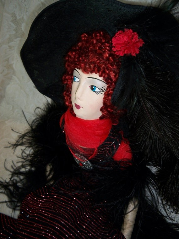 Vintage Boudoir Doll, Lady Red is an Egg Face type. Gorgeous and Sassy ON SALE