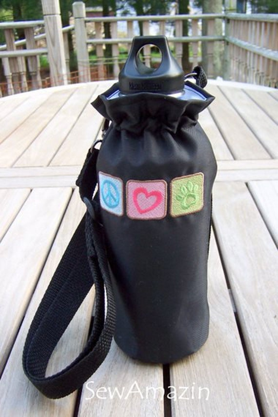 Peace Love Rescue Embroidered Water Bottle Carrier with adjustable removable strap