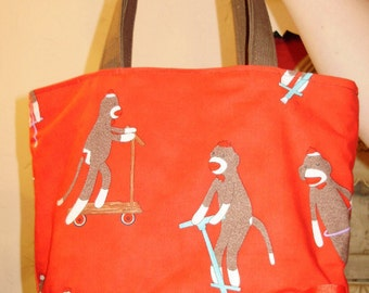 Retro Silly Sock Monkey BAG  Purse Tote BAG or Diaperbag