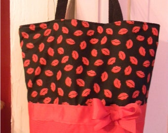 Red & Black Hot Kisses Love Purse Tote BAG or Diaperbag