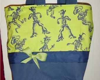 Lime & Blue Skeleton Skulls SKA Gothic Goth Fantasy BAG Purse Tote BAG or Diaperbag