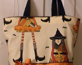 Witch in Stitches Fall Halloween Bats Purse Tote BAG or Diaperbag