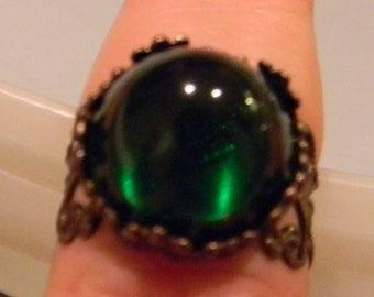 Queen's Renaissance Medieval Cabochon Gemstone Ring-  Adjustable