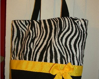 Classic Houndstooth or ZEBRA black white & Gold   BAG Purse -Tote or Diaperbag