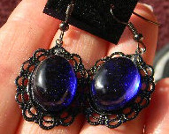 Blue Jewel Vintage inspired Cobolt -Sapphire  Cabochon Earrings