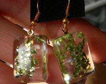 Jewel Green Sparkle Resin Glitter Cabochon Earrings