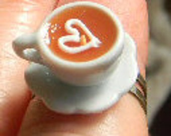 Coffe Cup Rings Porcelin Cafe espresso Cabochon Ring Adjustable size
