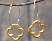 22K Gold Plated Clover Flower Earrings on gold hoop