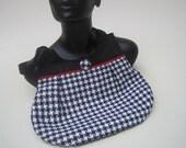 Purse, shoulder bag, handwoven, black, white, red, houndstooth