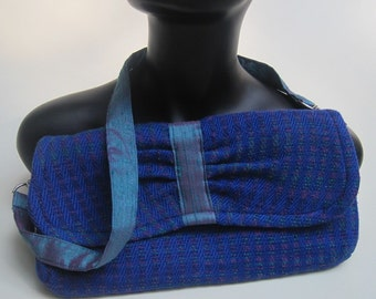 Clutch, handwoven, blue and teal