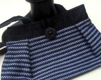Purse, shoulder bag, hand woven,blue, black, white