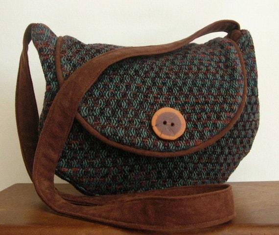 Purse, hobo bag, handwoven, teal, brown, rust