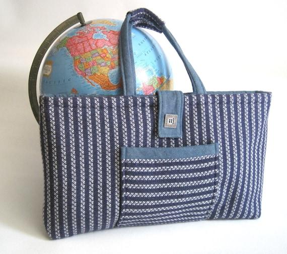 Tote bag, hand woven, blue, white, denim