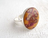 Pressed Leaf Ring - dotted leaf in epoxy resin - handmade flower jewelry