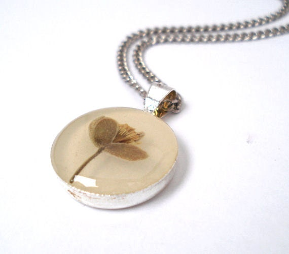 Preserved Flower Necklace - Basswood Bud in Epoxy Resin - handmade by hidden garden