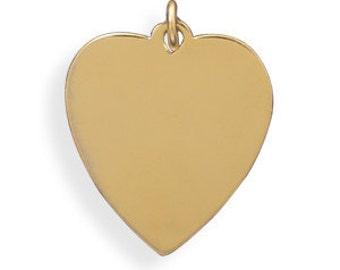 14K - 20K Gold Filled Engravable Heart Pendant