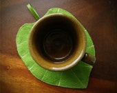 Linen leaf coasters from green forest linen