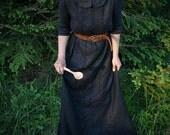 Linen Extra Long Dress In Black