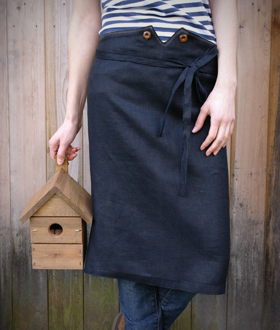 Linen Waist Apron With Wooden Buttons In Black. Ready to ship