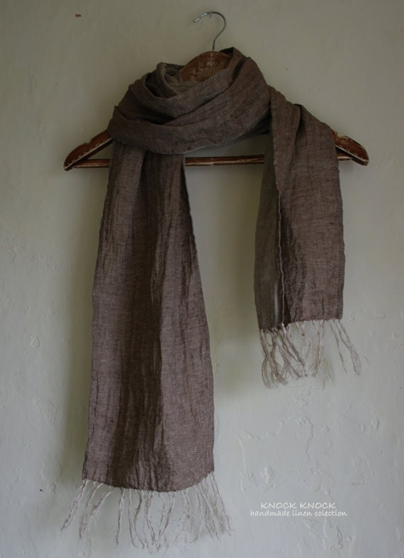 Linen Scarf With Hand Knotted Fringe For Stella