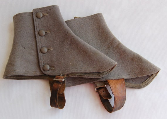 Antique Vintage 1900-1910s Victorian Edwardian Grey Wool & Leather Spats